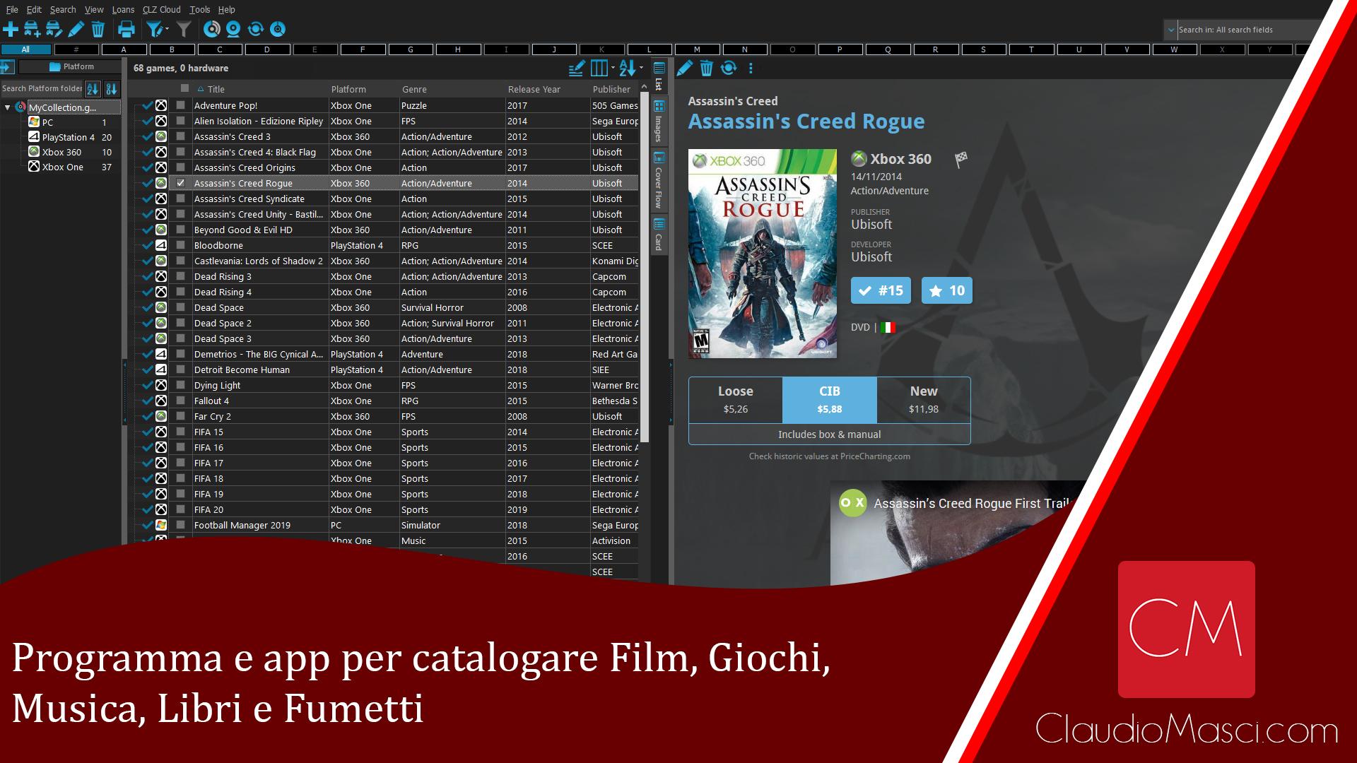 Programma e app per catalogare Film, Giochi, Musica, Libri e Fumetti