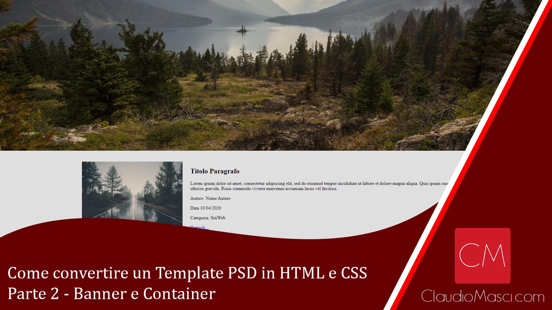 Come convertire un Template PSD in HTML e CSS – Parte 2 – Banner e Container