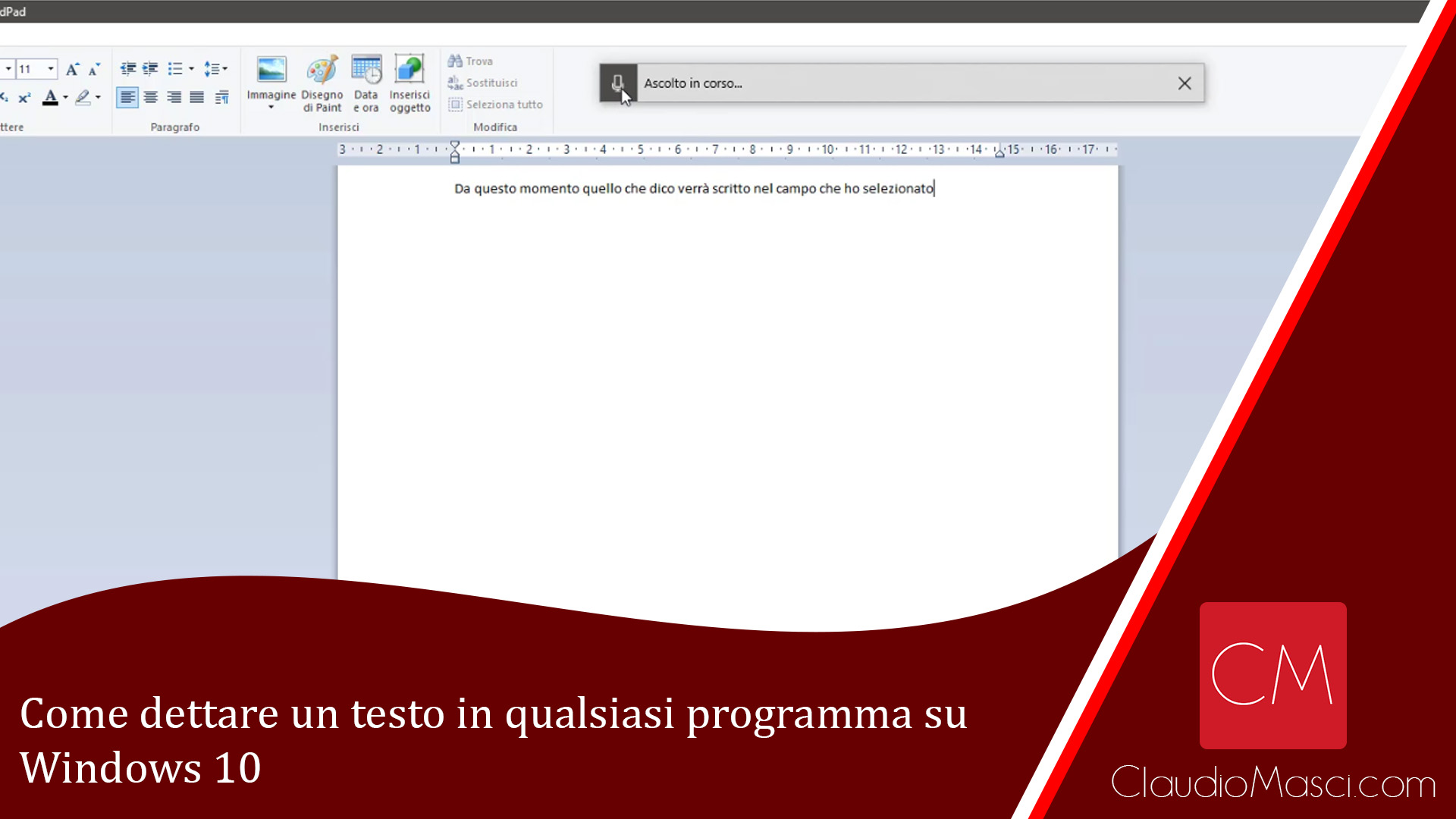 Come dettare un testo in qualsiasi programma su Windows 10