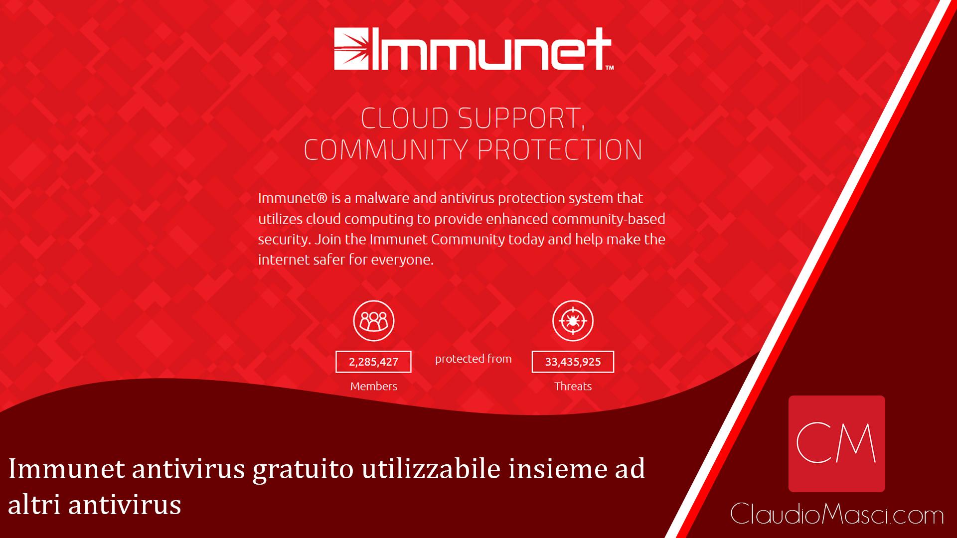 Immunet antivirus gratuito utilizzabile insieme ad altri antivirus