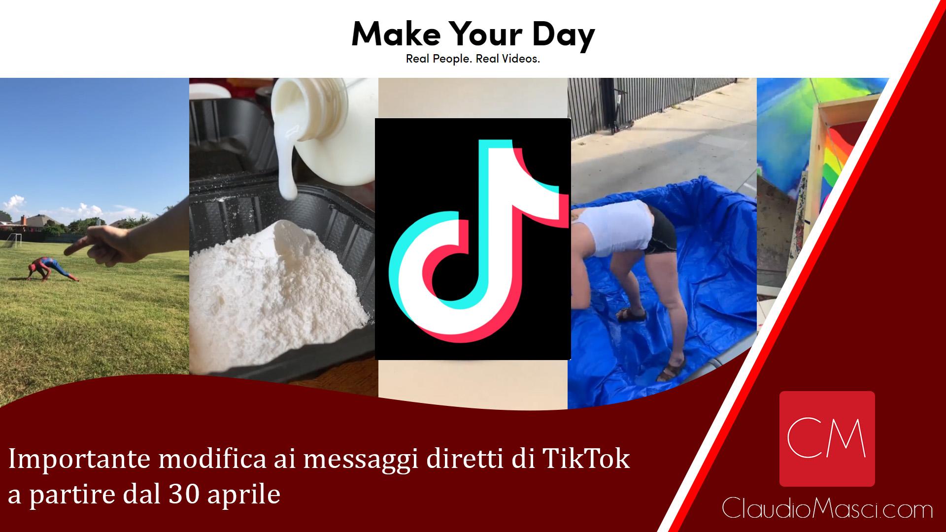 Importante modifica ai messaggi diretti di TikTok dal 30 aprile