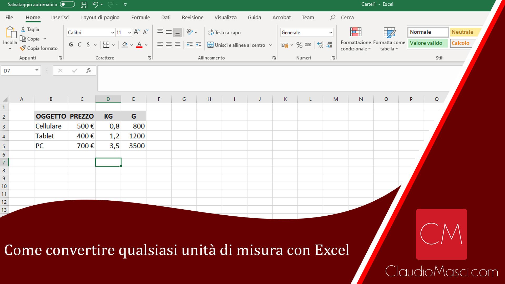 Come convertire qualsiasi unità di misura con Excel