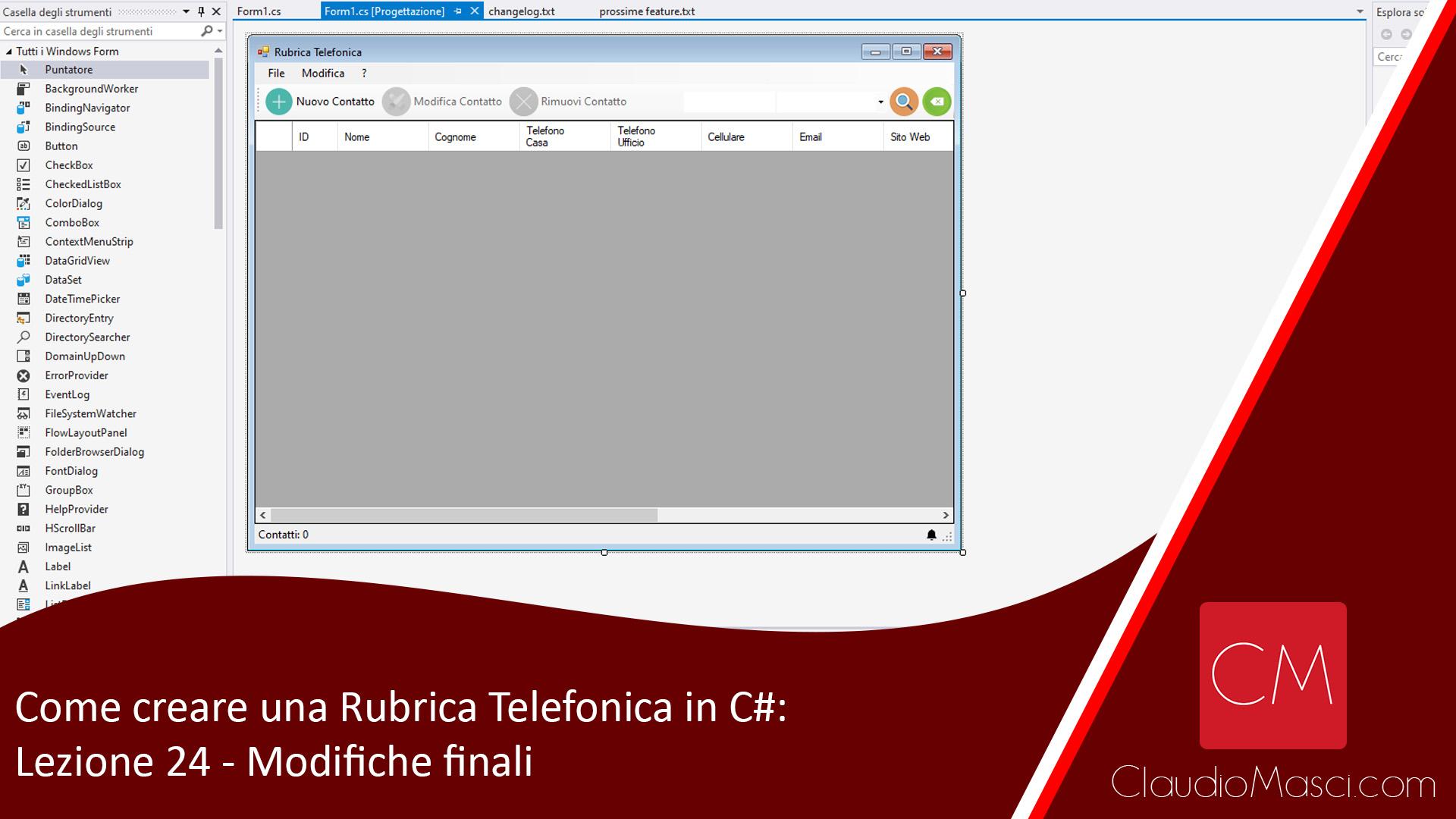 Come creare una Rubrica Telefonica in C# – #24 – Modifiche finali