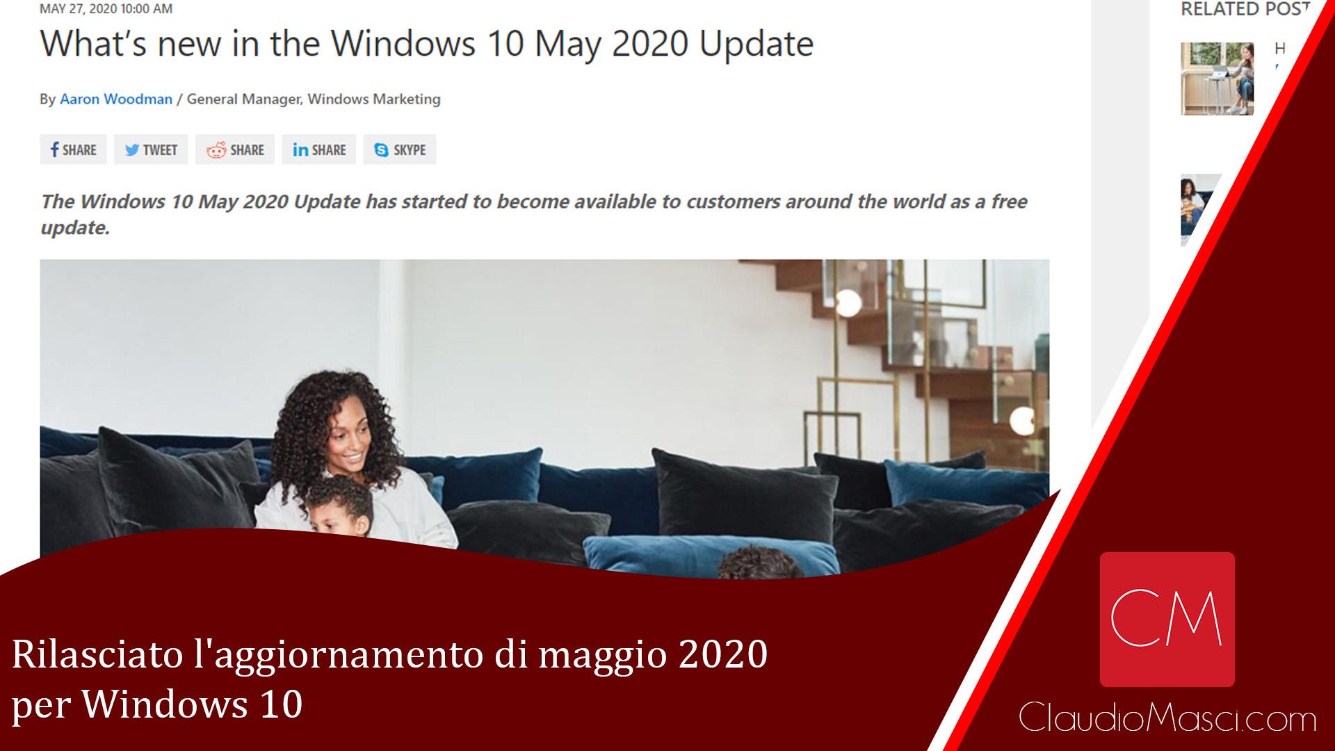 Rilasciato l'aggiornamento di maggio 2020 per Windows 10