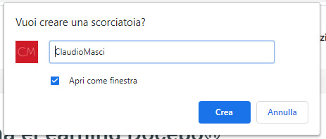 Salvare sito web come app da Chrome - Crea Scorciatoia