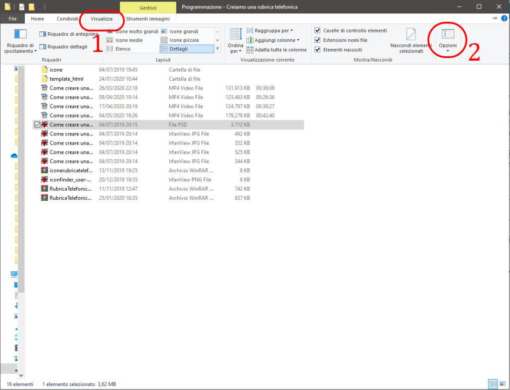 abilitare le caselle di selezione file su Windows 10