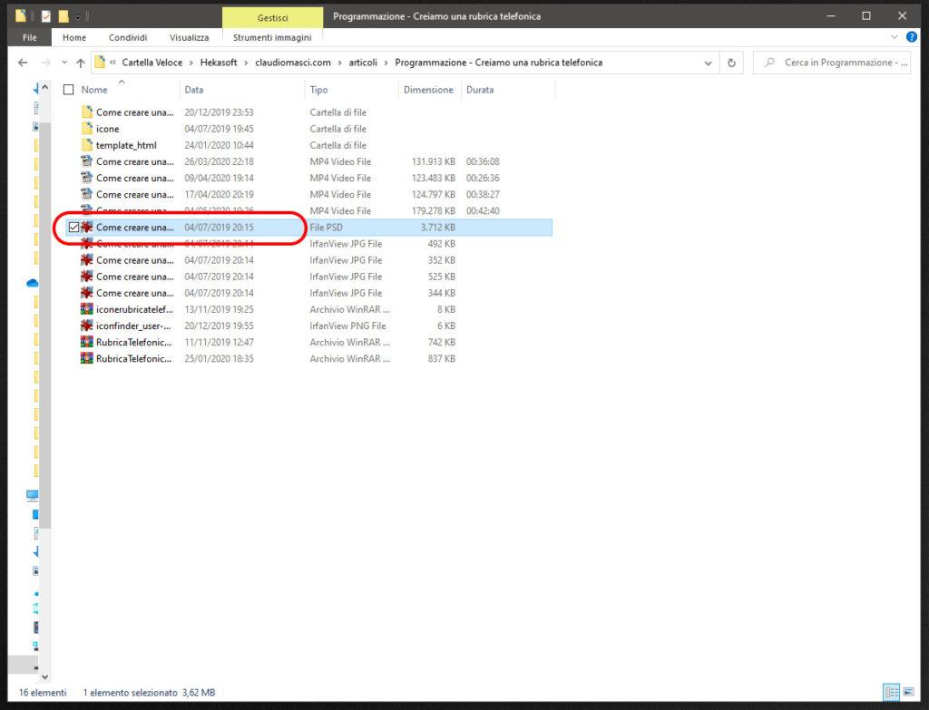 Caselle di selezione file Windows 10