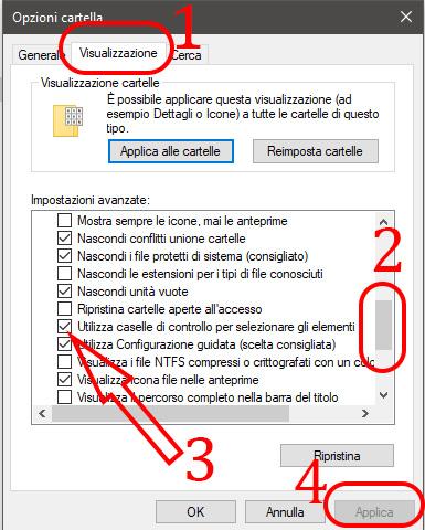 Mostrare caselle di selezione file su Windows 10