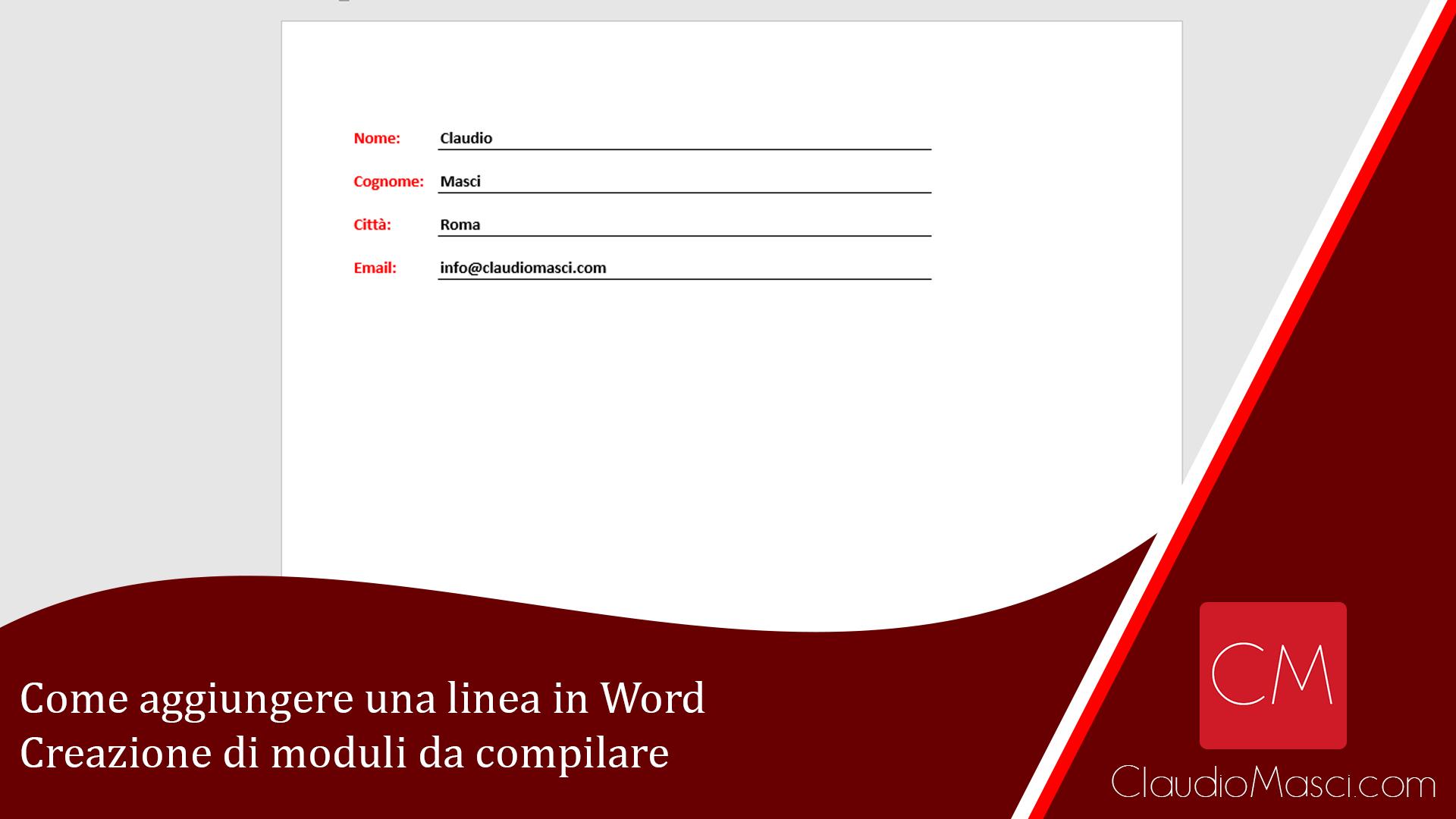 Come aggiungere una linea in Word – Creazione di moduli da compilare
