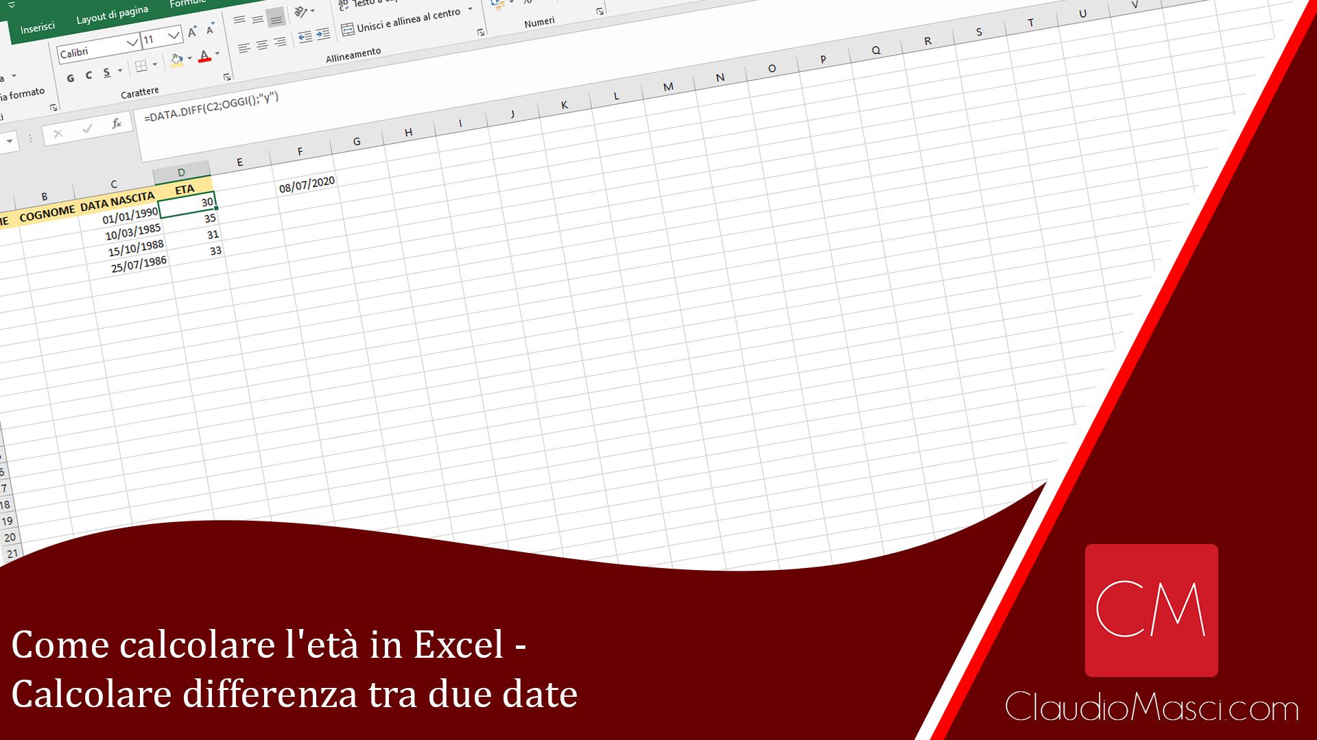 Come calcolare l'età in Excel – Calcolare differenza tra due date