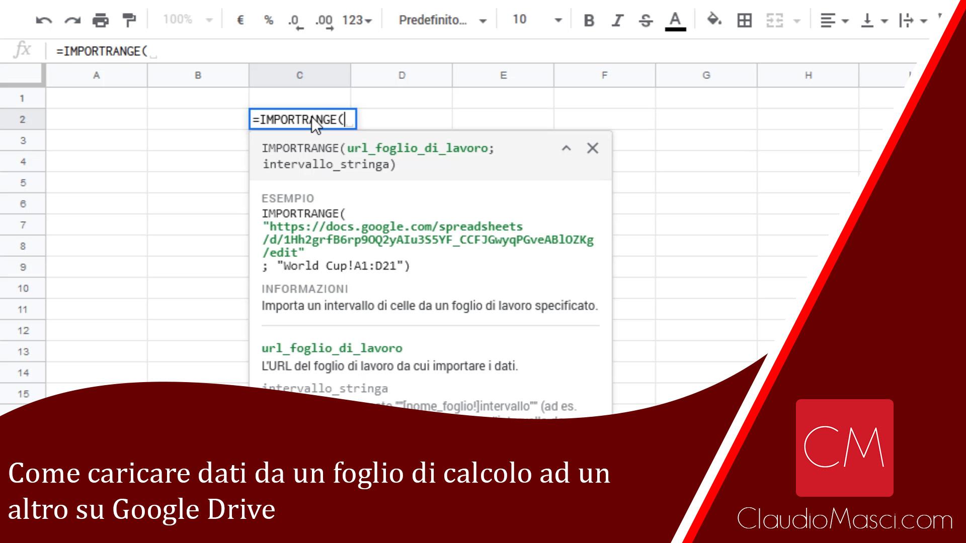 Come caricare dati da un foglio di calcolo ad un altro su Google Drive