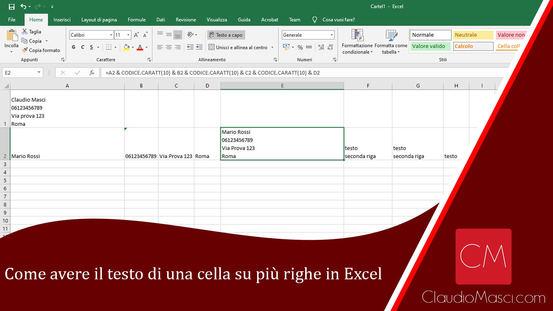 Come avere il testo di una cella su più righe in Excel