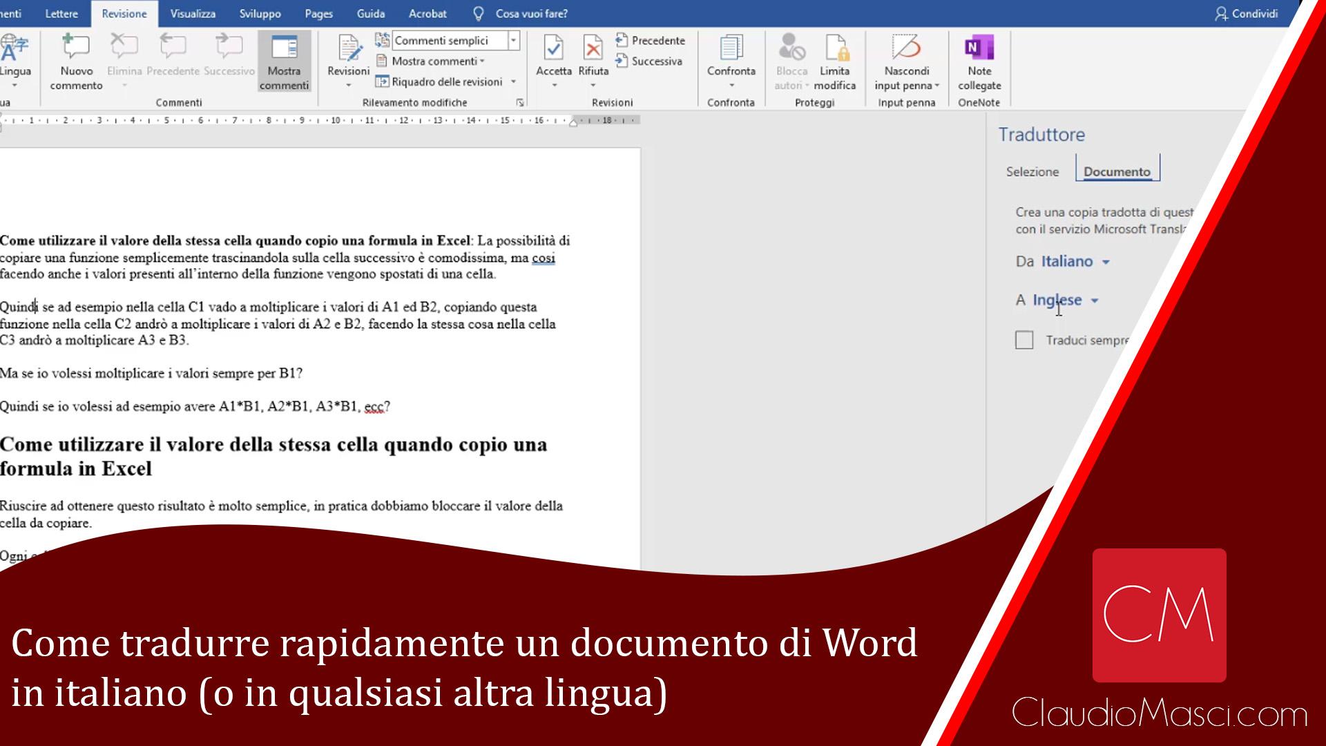Come tradurre rapidamente un documento di Word in italiano