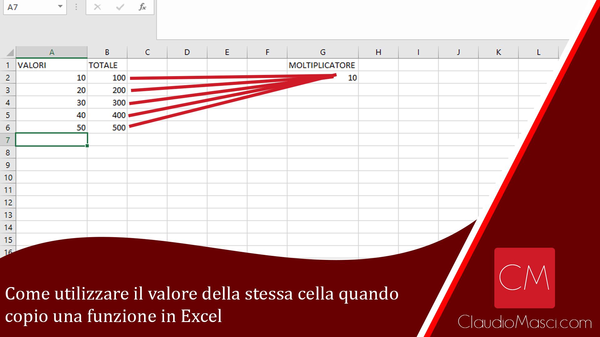Come utilizzare il valore della stessa cella quando copio una formula in Excel