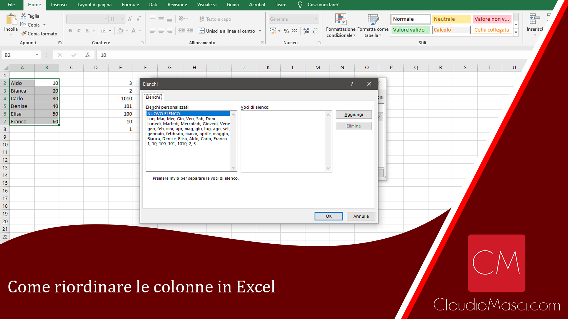 Come riordinare le colonne in Excel