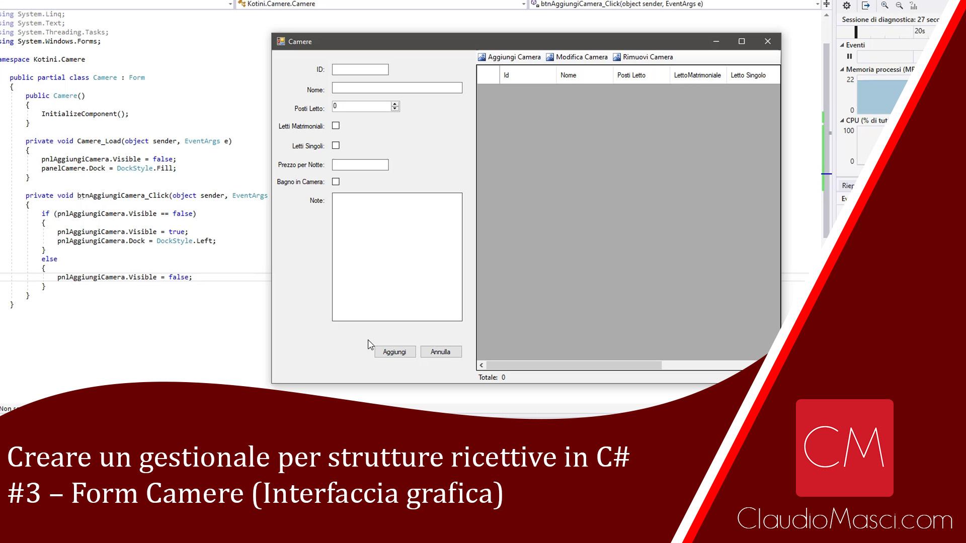 Creare un gestionale per strutture ricettive in C# – #3 – Form Camere