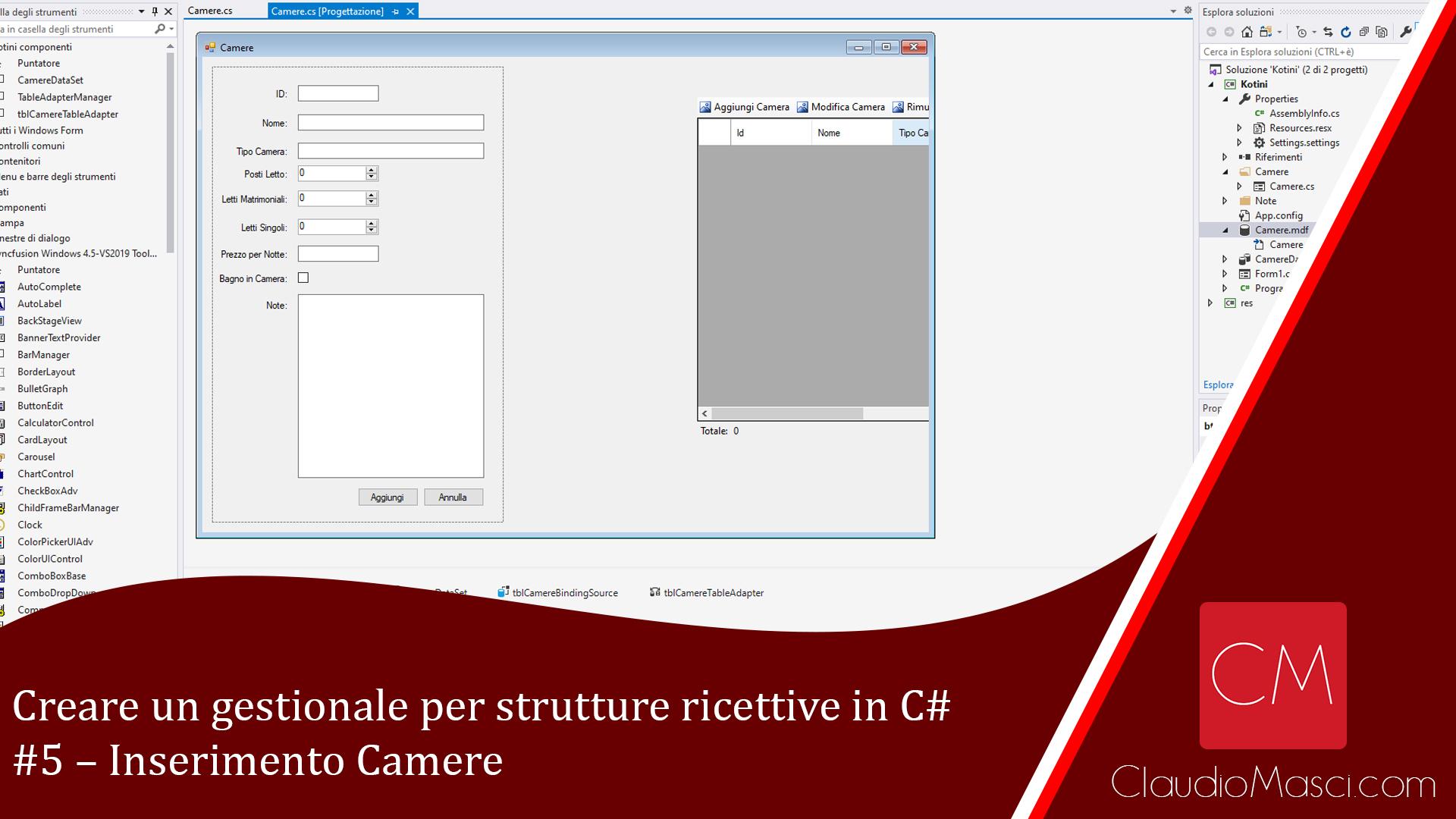 Creare un gestionale per strutture ricettive in C# – #5 – Inserimento Camere