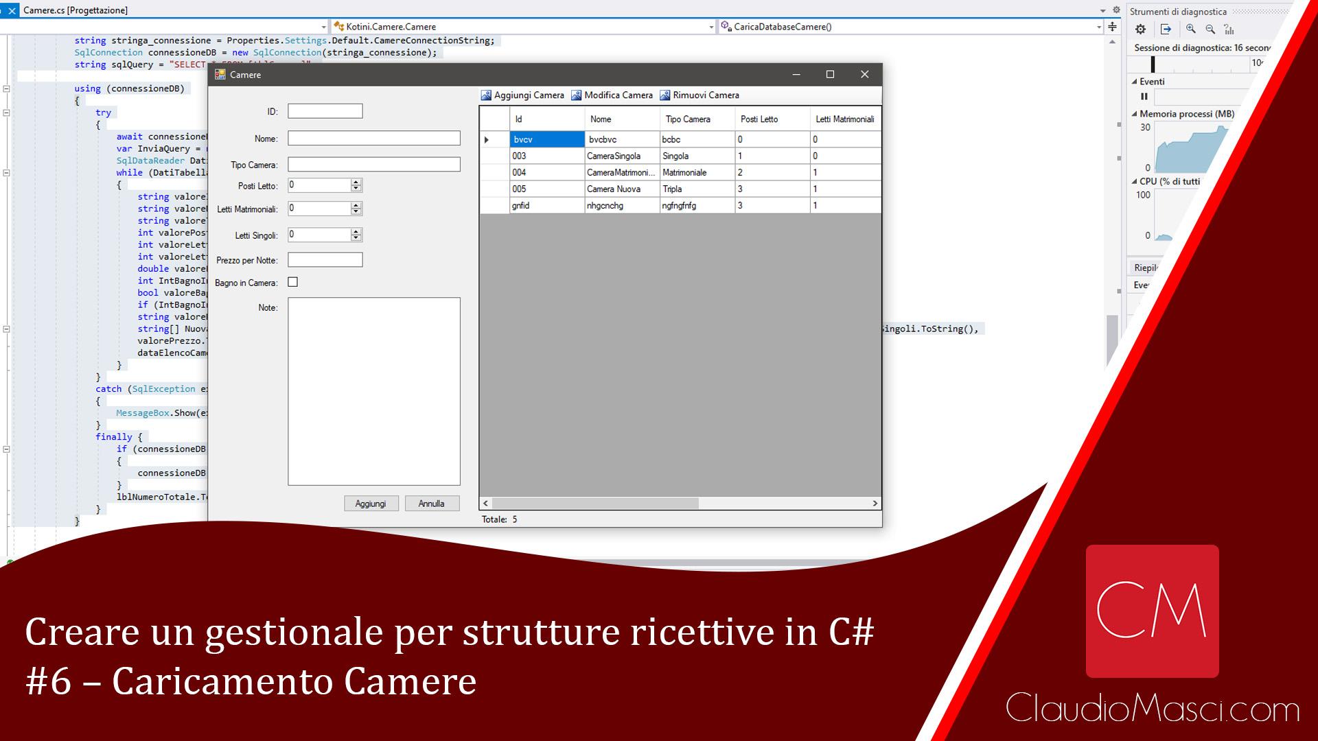 Creare un gestionale per strutture ricettive in C# – #6 – Caricamento Camere