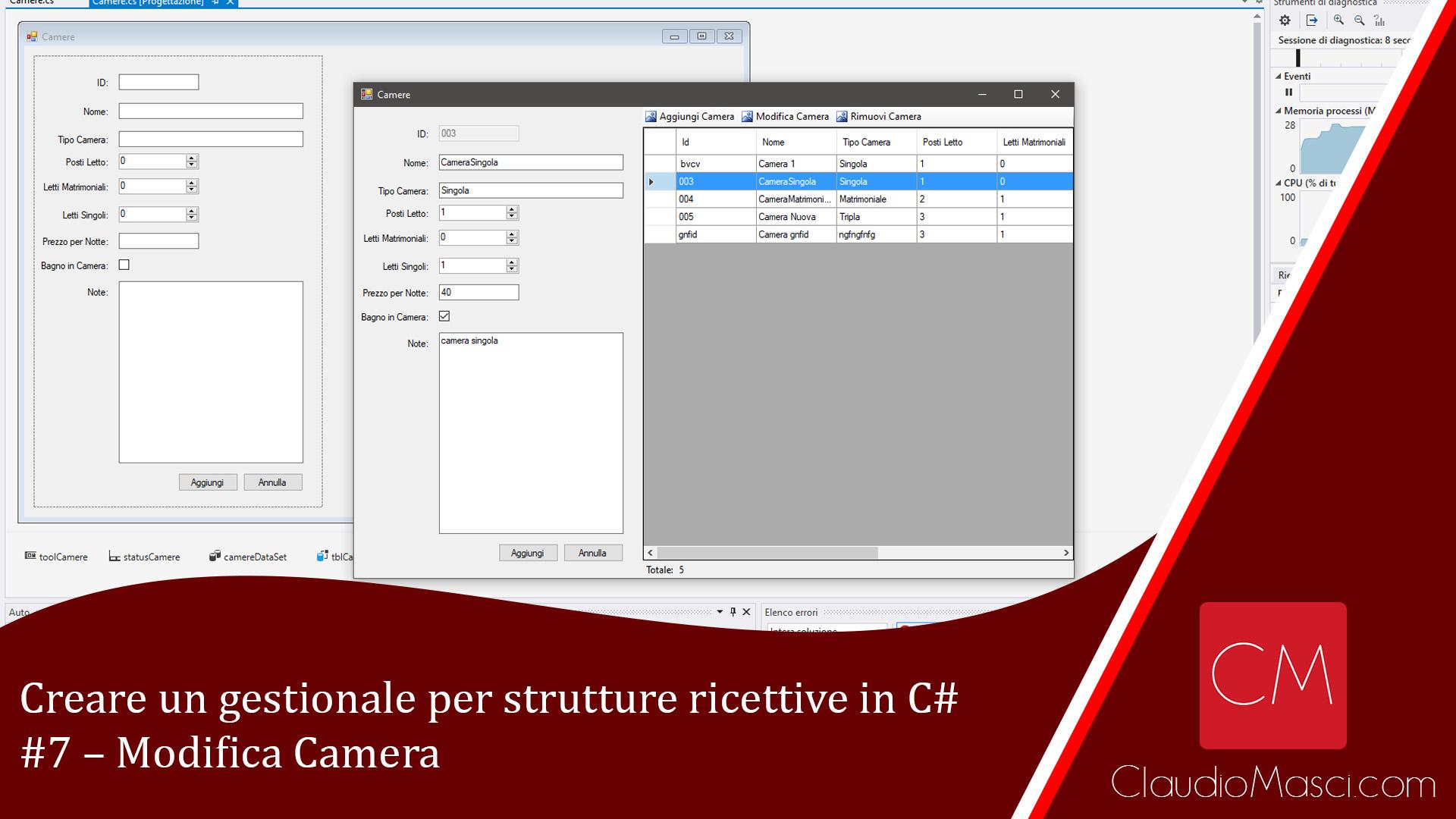 Creare un gestionale per strutture ricettive in C# – #7 – Modifica Camera