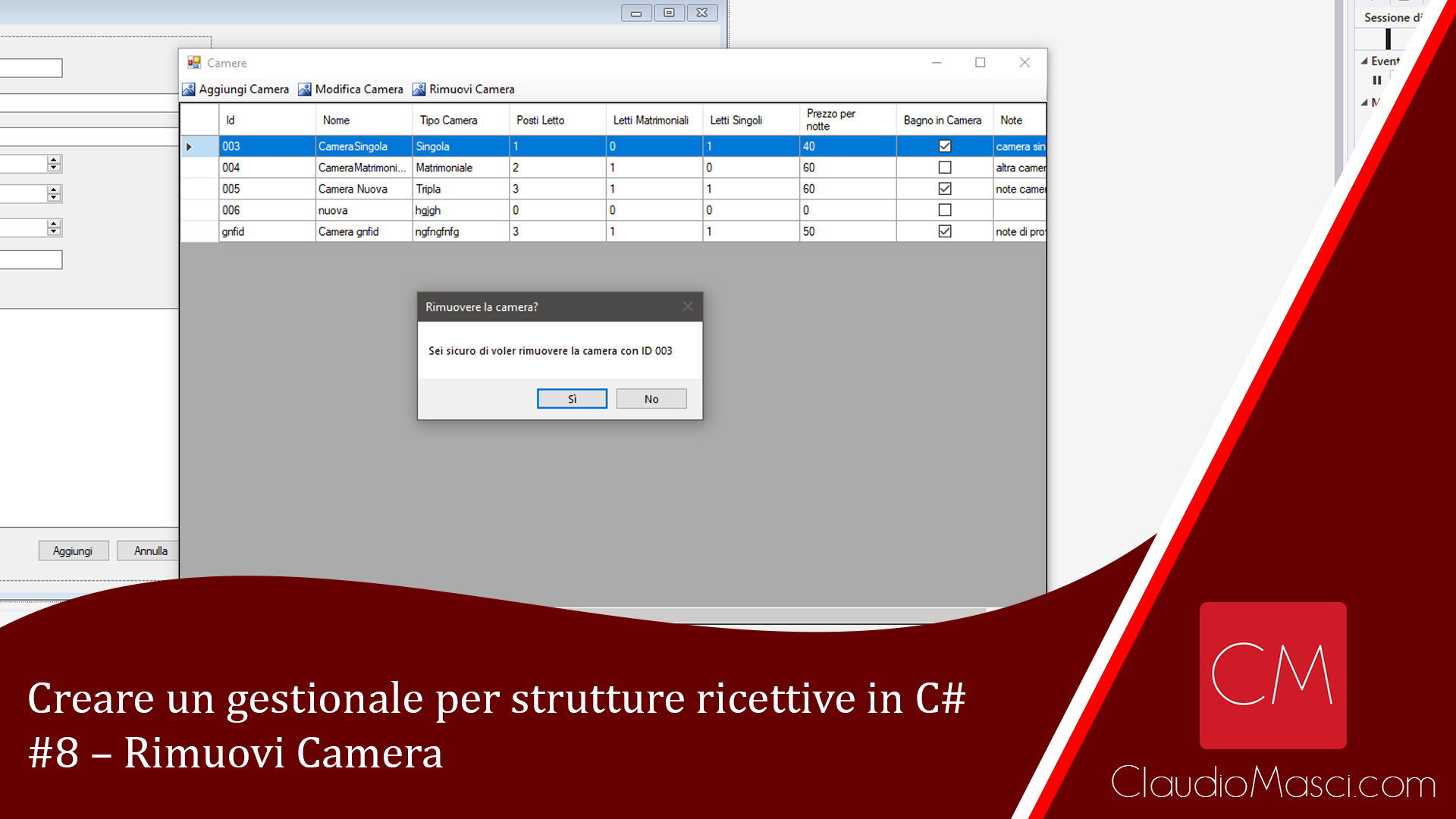 Creare un gestionale per strutture ricettive in C# – #8 – Rimuovi Camera