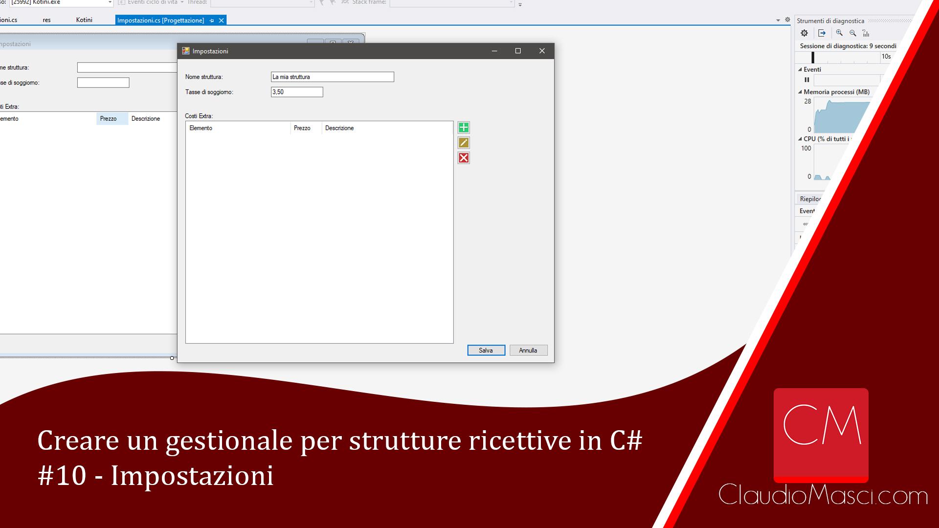 Creare un gestionale per strutture ricettive in C# – #10 – Impostazioni