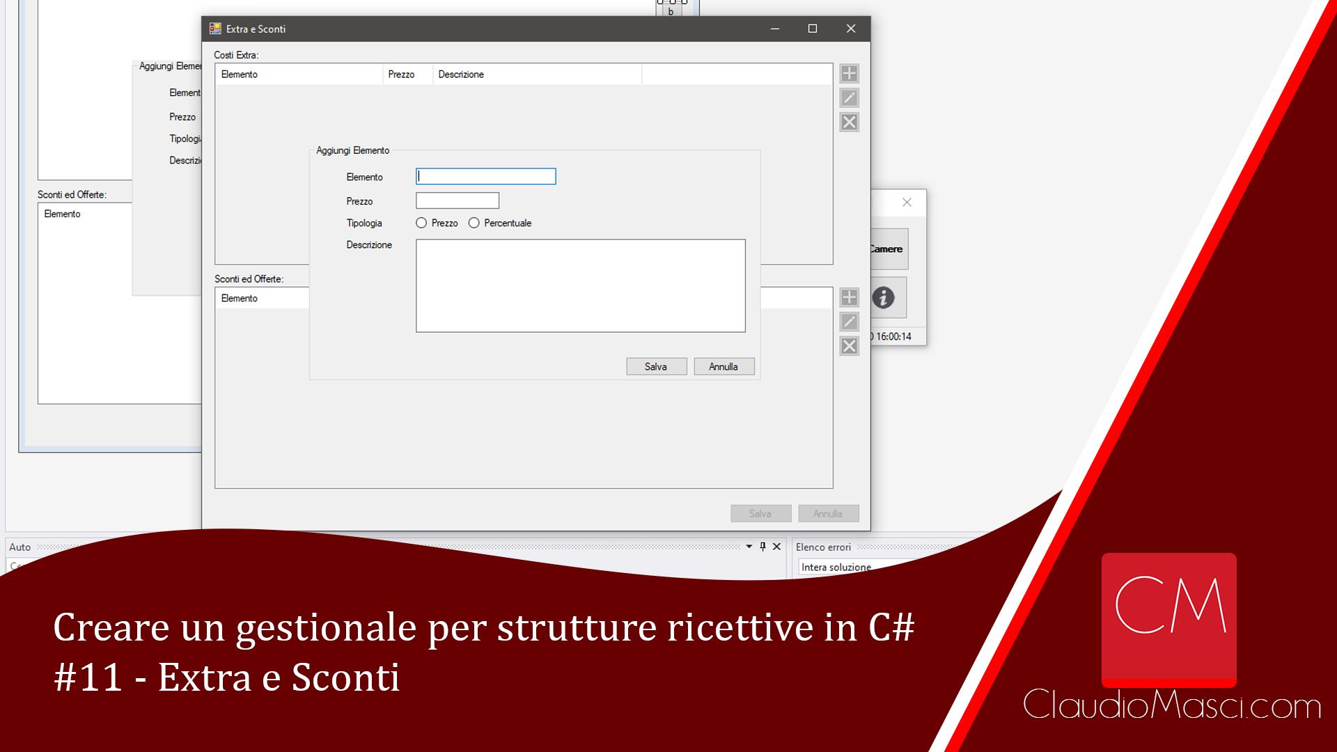 Creare un gestionale per strutture ricettive in C# – #11 – Extra e Sconti