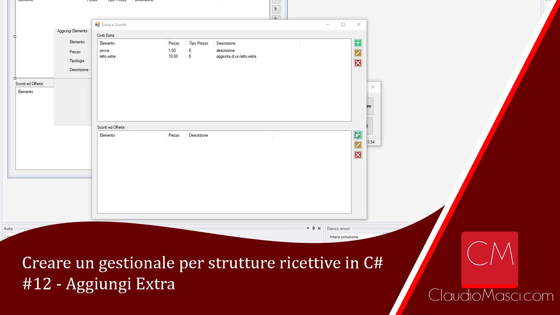 Creare un gestionale per strutture ricettive in C# – #12 – Aggiungi Extra