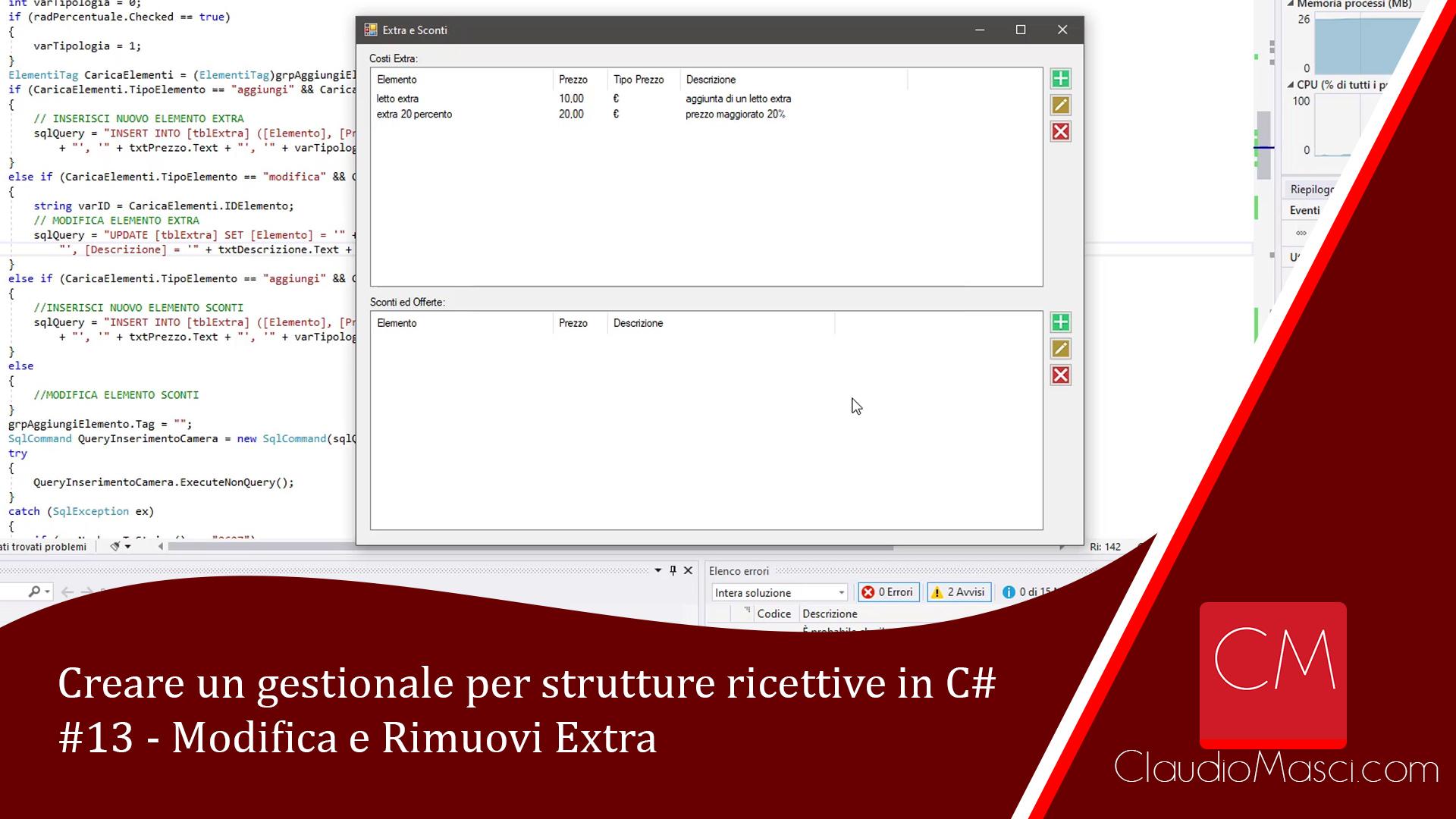 Creare un gestionale per strutture ricettive in C# – #13 – Modifica e Rimuovi Extra