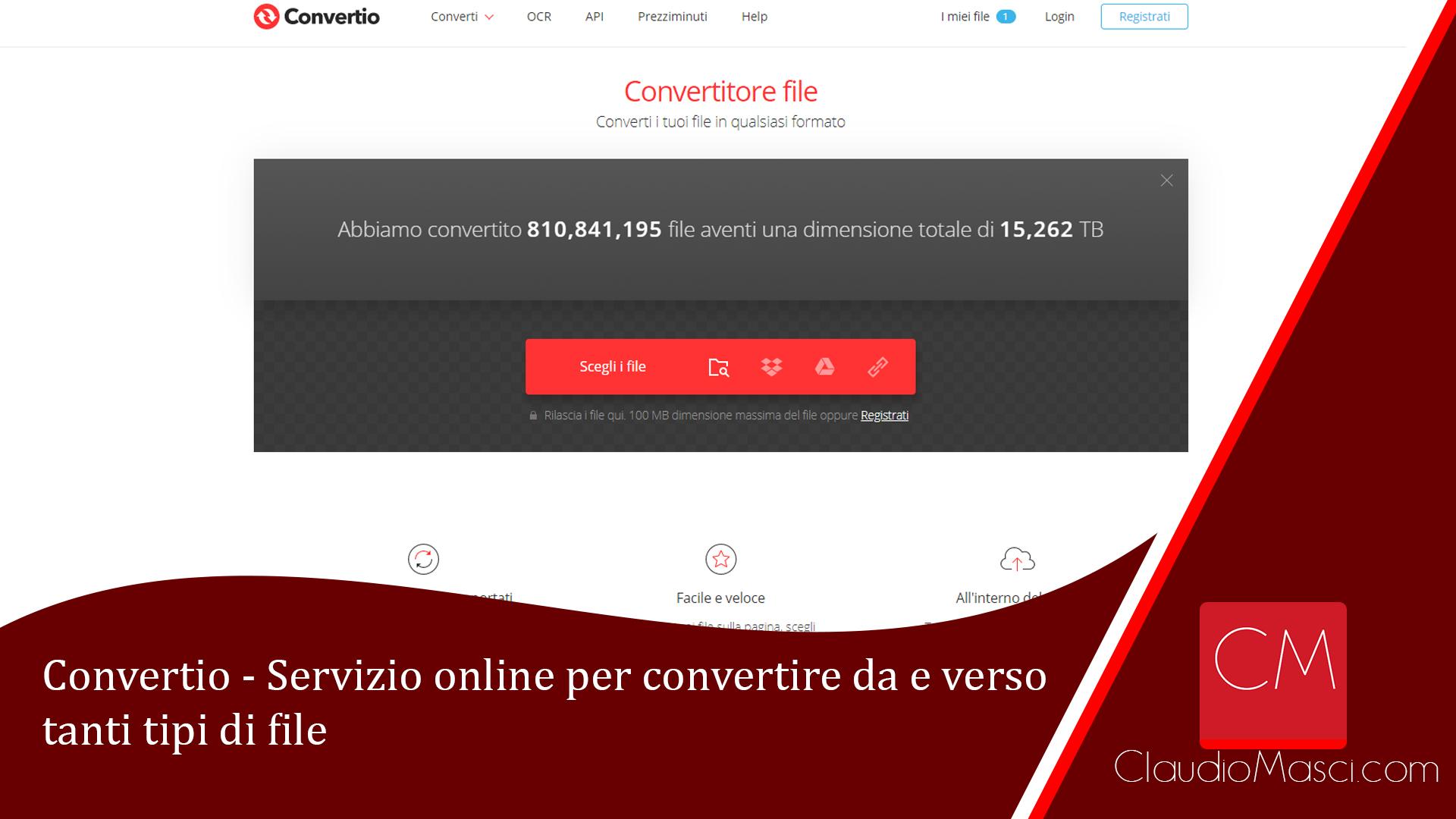 Convertio - Servizio online per convertire da e verso tanti tipi di file