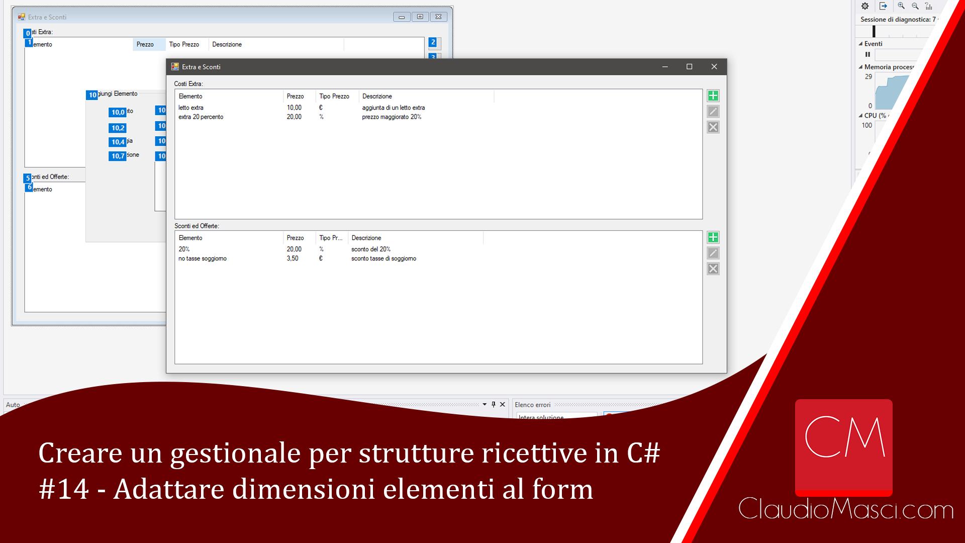 Creare un gestionale per strutture ricettive in C# – #14 – Adattare dimensioni elementi al form