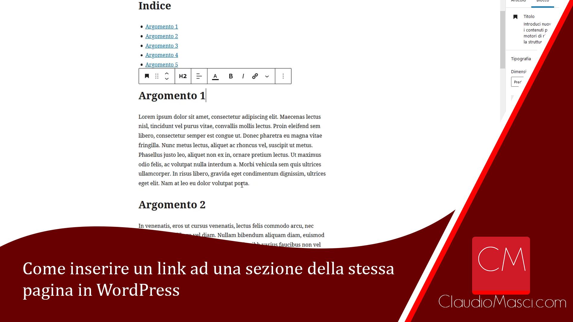 Come inserire un link ad una sezione della stessa pagina in WordPress