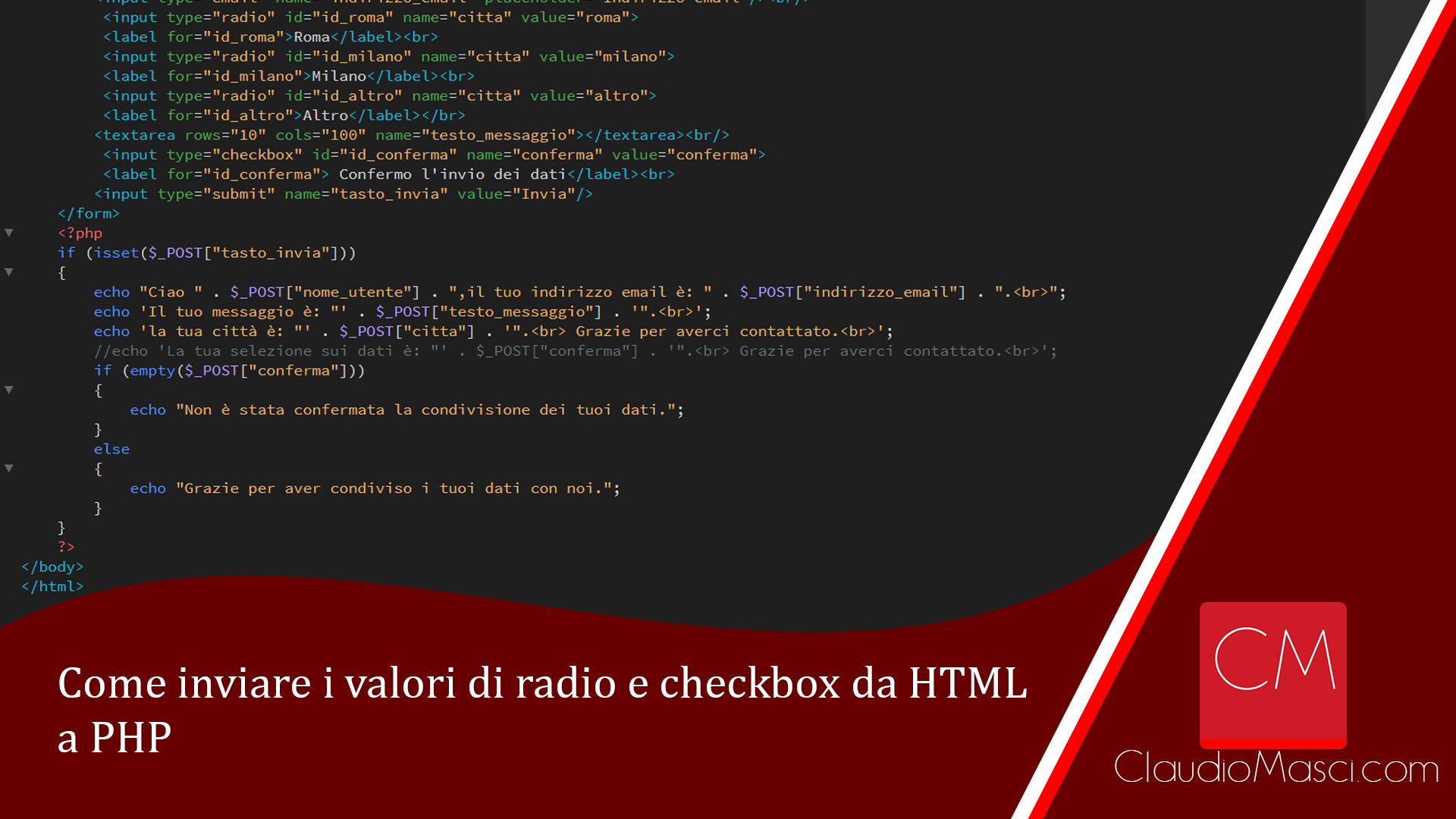 Come inviare i valori di radio e checkbox da html a php