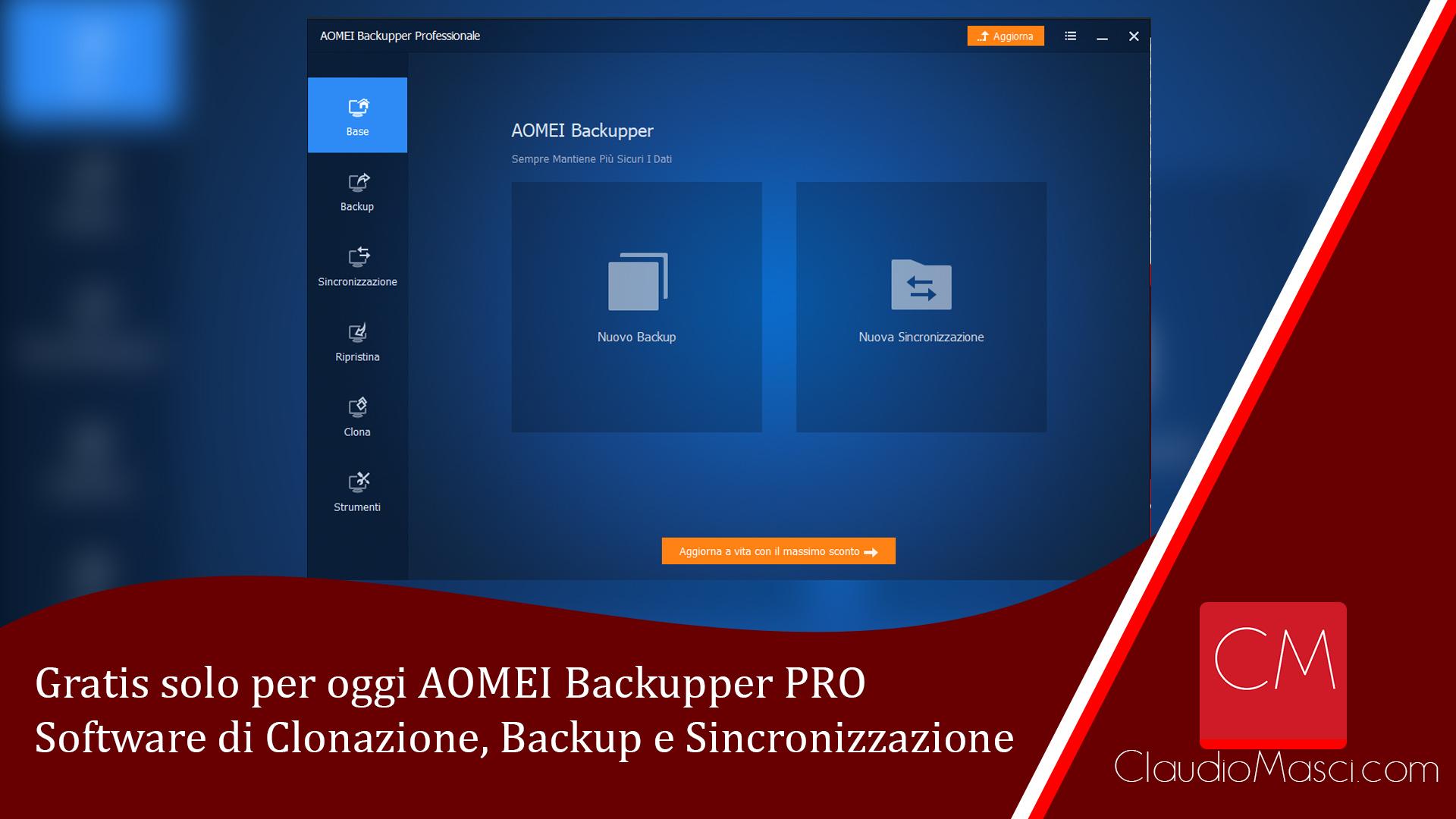 Gratis solo per oggi AOMEI Backupper Professional