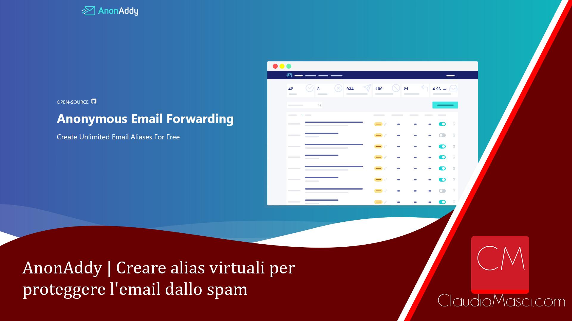 AnonAddy – Creare alias virtuali per proteggere l'email dallo spam