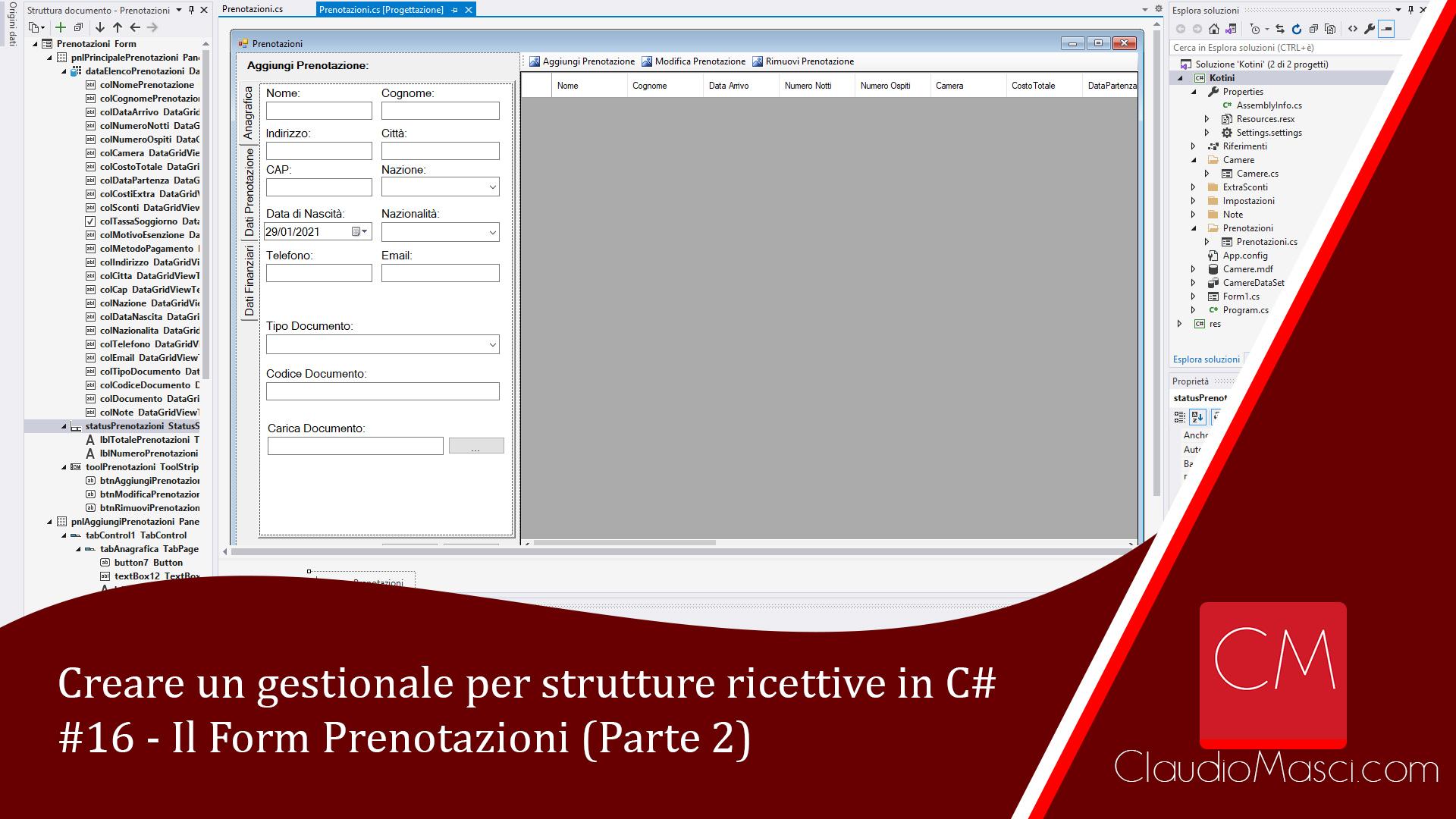 Creare un gestionale per strutture ricettive in C# – 16 – Il Form Prenotazioni (Parte 2)