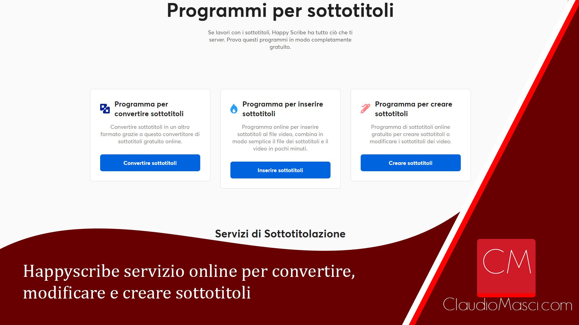 Happyscribe servizio online per convertire, modificare e creare sottotitoli