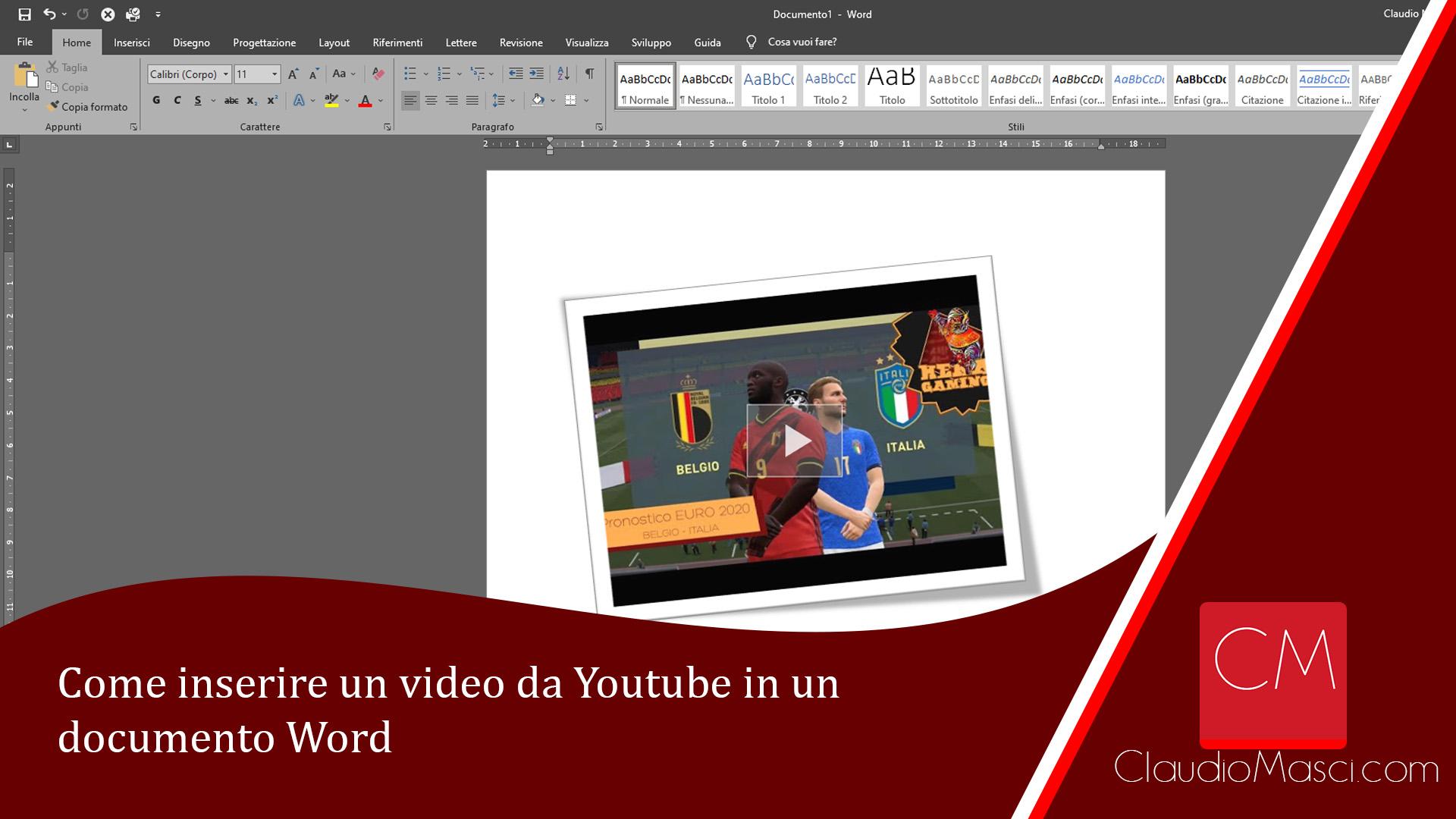 Come inserire un video da Youtube in un documento Word