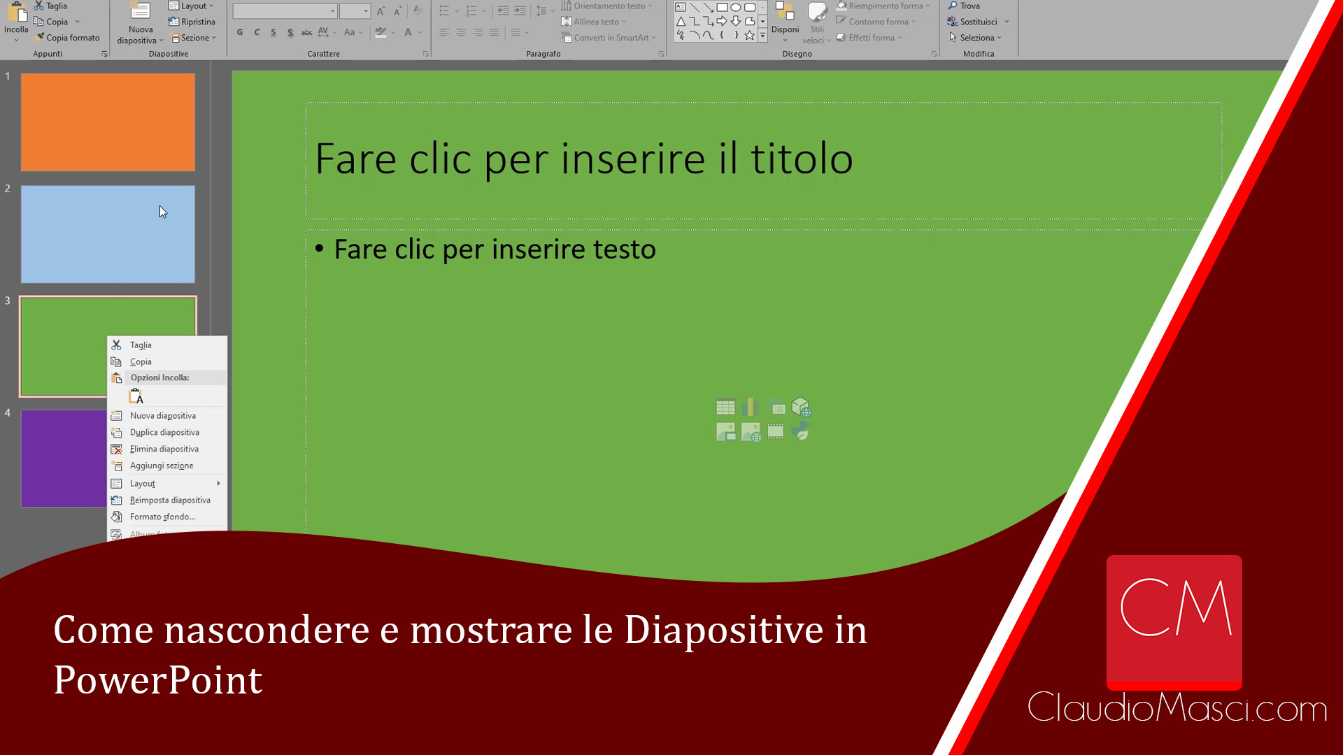 Come nascondere e mostrare le Diapositive in PowerPoint