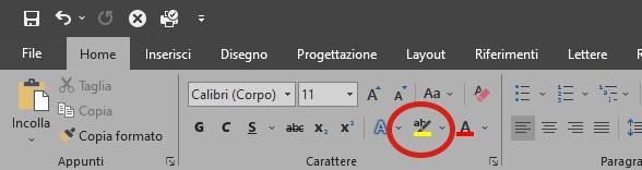 evidenziatore testo Microsoft Word