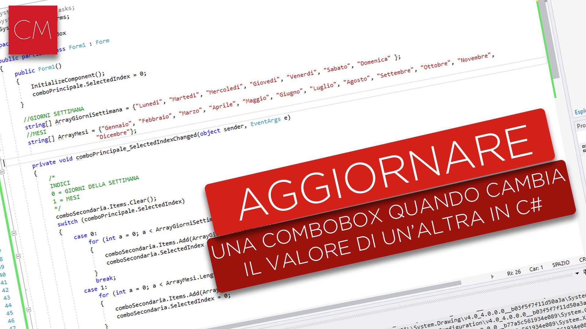 Aggiornare una Combobox quando cambia il valore di un'altra in C#