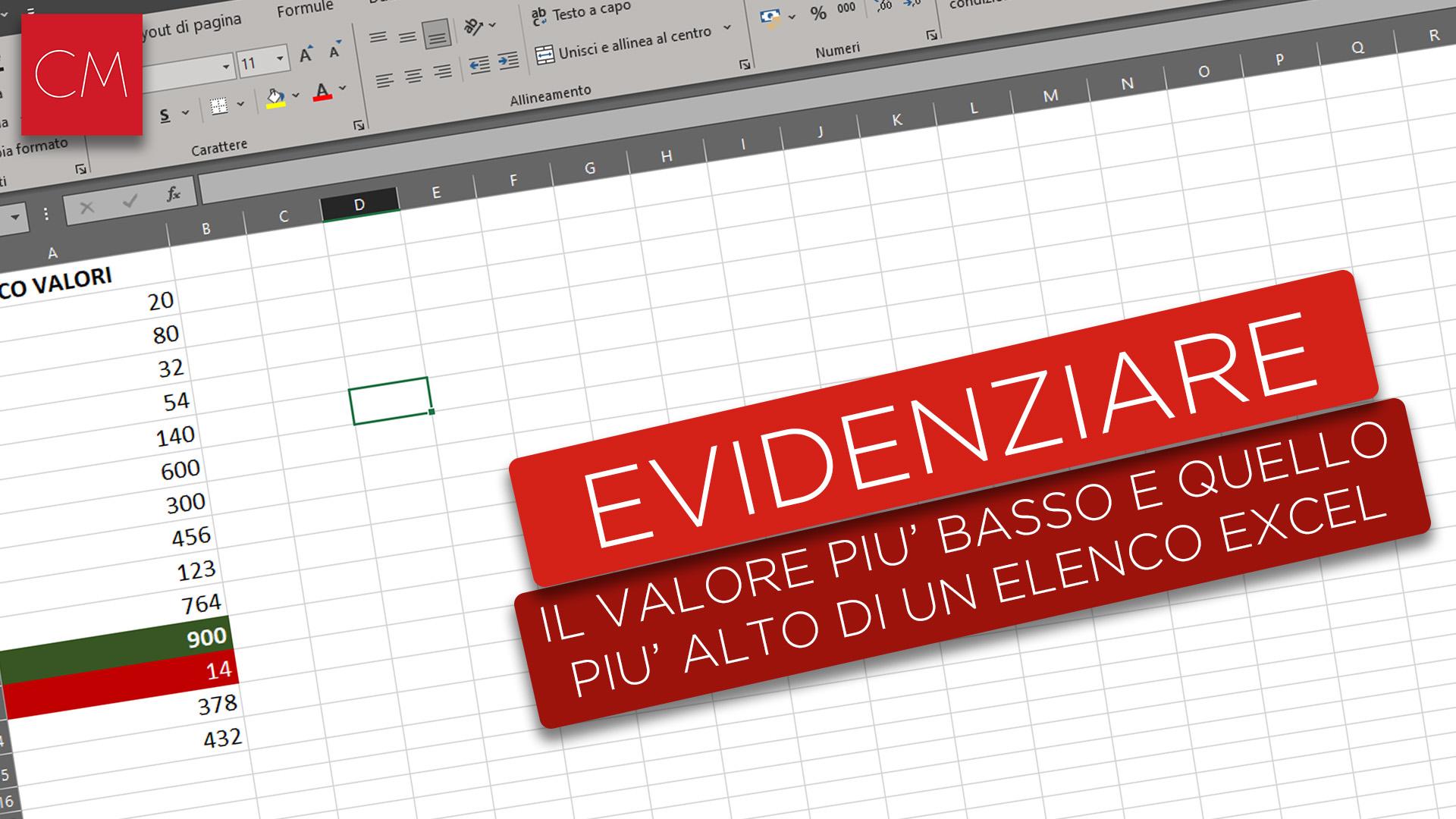 Evidenziare il valore più basso e quello più alto di un elenco Excel
