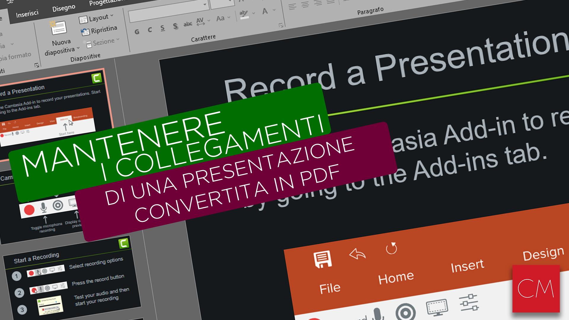 Mantenere i collegamenti di una presentazione PowerPoint convertita in PDF